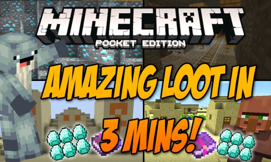 MCPE - Amazing Loot in 3 Mins  MINECRAFT SEED -197319193