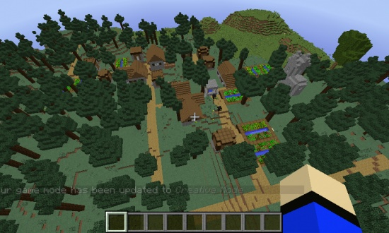 minecraft pe seed with village and wolves at spawn