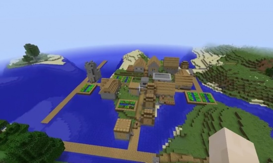 village at spawn and double jungle temple
